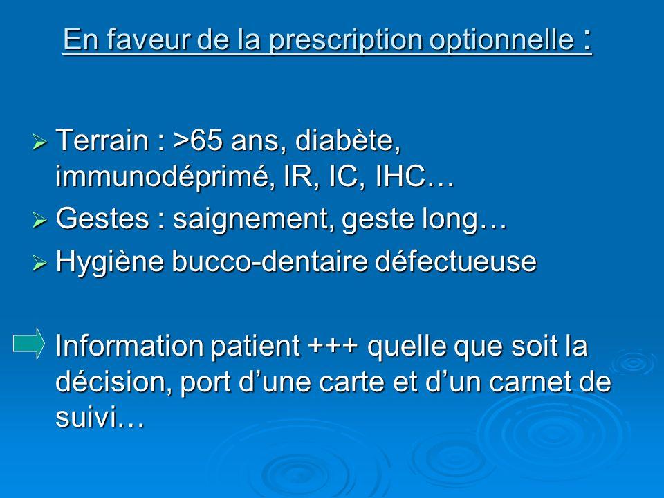 En faveur de la prescription optionnelle : Terrain : >65 ans, diabète, immunodéprimé, IR, IC, IHC… Terrain : >65 ans, diabète, immunodéprimé, IR, IC,