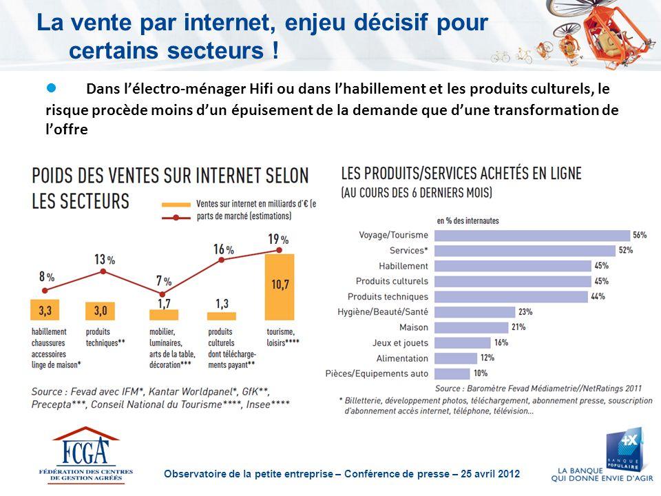 Observatoire de la petite entreprise – Conférence de presse – 25 avril 2012 La vente par internet, enjeu décisif pour certains secteurs .