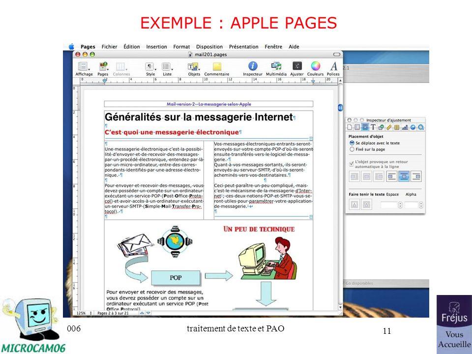 06/30/2006traitement de texte et PAO 11 EXEMPLE : APPLE PAGES