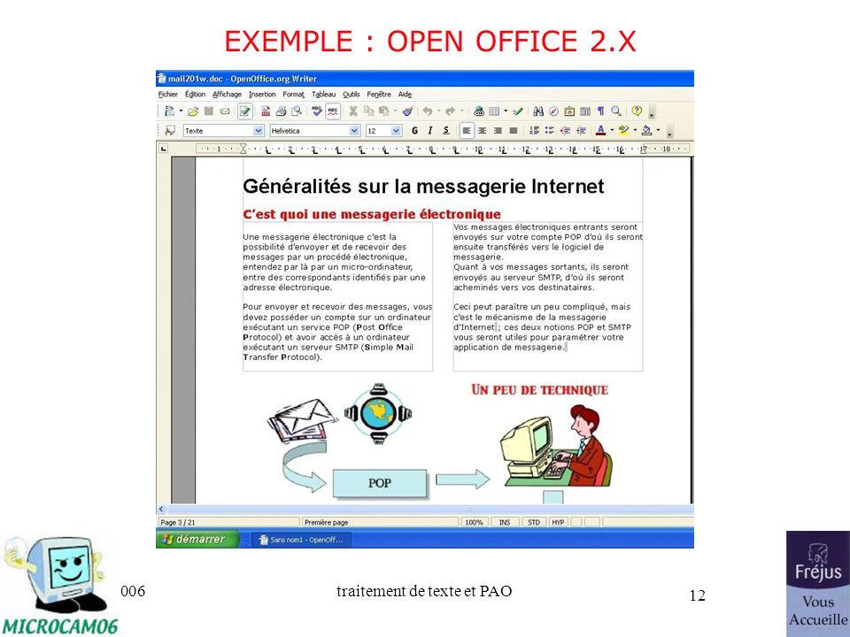 06/30/2006traitement de texte et PAO 12 EXEMPLE : OPEN OFFICE 2.X