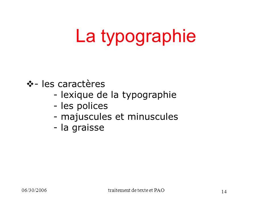 06/30/2006traitement de texte et PAO 14 La typographie - les caractères - lexique de la typographie - les polices - majuscules et minuscules - la grai