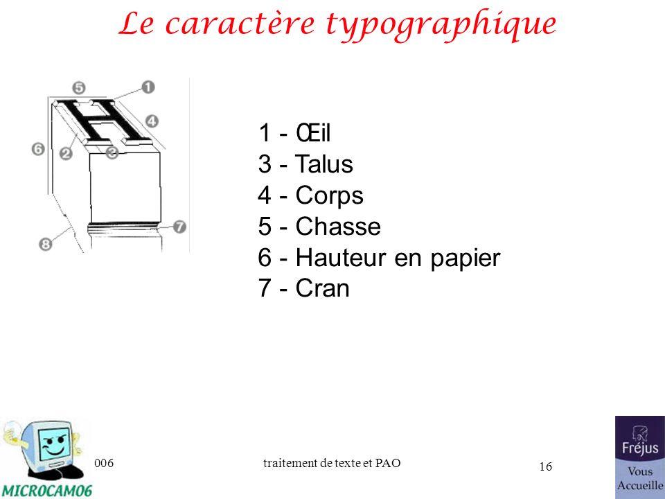 06/30/2006traitement de texte et PAO 16 Le caractère typographique 1 - Œil 3 - Talus 4 - Corps 5 - Chasse 6 - Hauteur en papier 7 - Cran