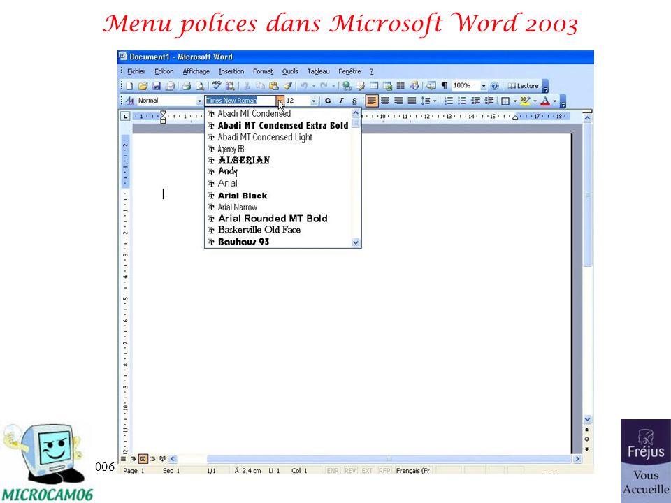 06/30/2006traitement de texte et PAO 22 Menu polices dans Microsoft Word 2003