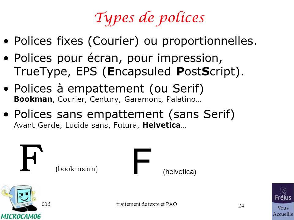 06/30/2006traitement de texte et PAO 24 Types de polices Polices fixes (Courier) ou proportionnelles. Polices pour écran, pour impression, TrueType, E