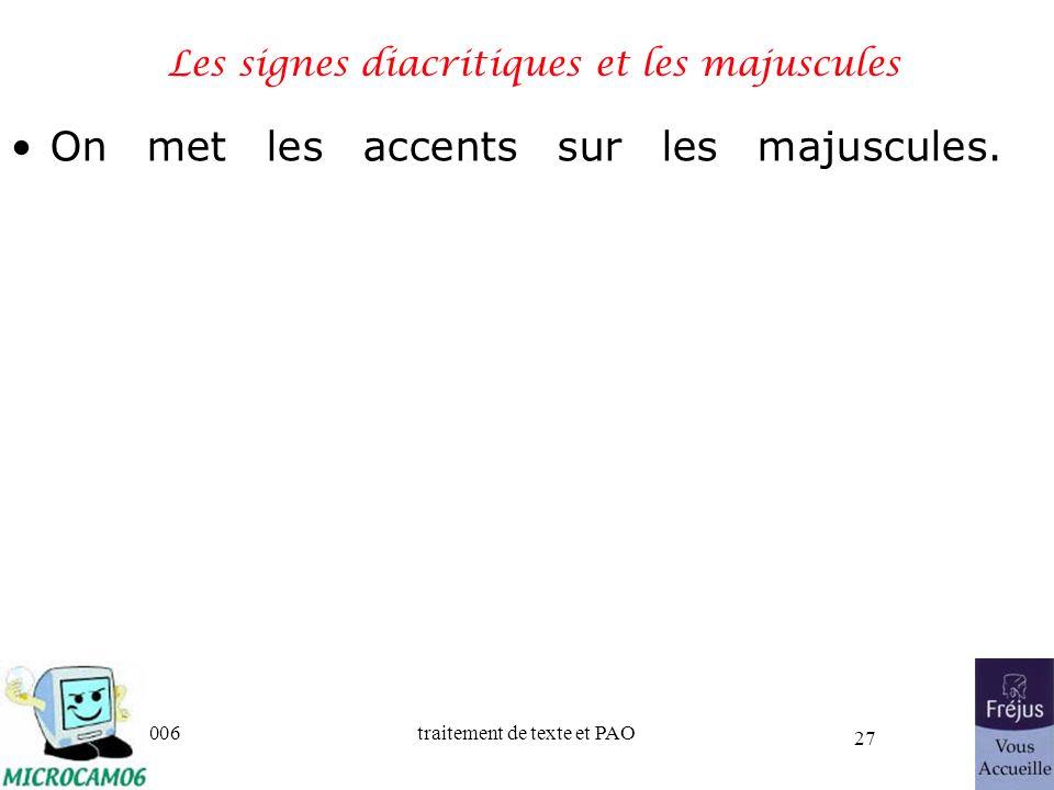 06/30/2006traitement de texte et PAO 27 Les signes diacritiques et les majuscules On met les accents sur les majuscules.