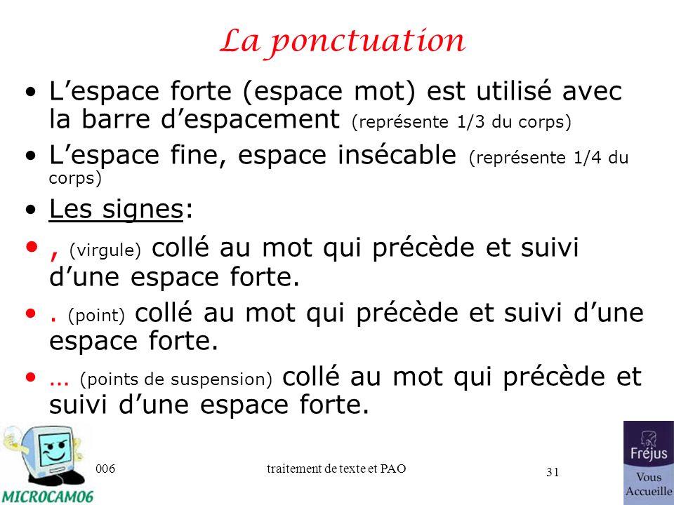 06/30/2006traitement de texte et PAO 31 La ponctuation Lespace forte (espace mot) est utilisé avec la barre despacement (représente 1/3 du corps) Lesp