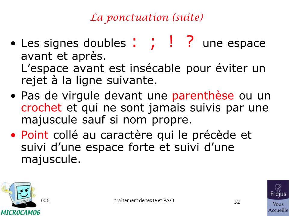 06/30/2006traitement de texte et PAO 32 La ponctuation (suite) Les signes doubles : ; ! ? une espace avant et après. Lespace avant est insécable pour