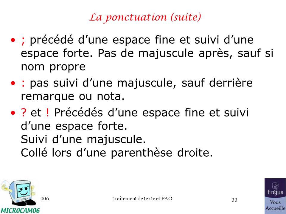 06/30/2006traitement de texte et PAO 33 La ponctuation (suite) ; précédé dune espace fine et suivi dune espace forte. Pas de majuscule après, sauf si