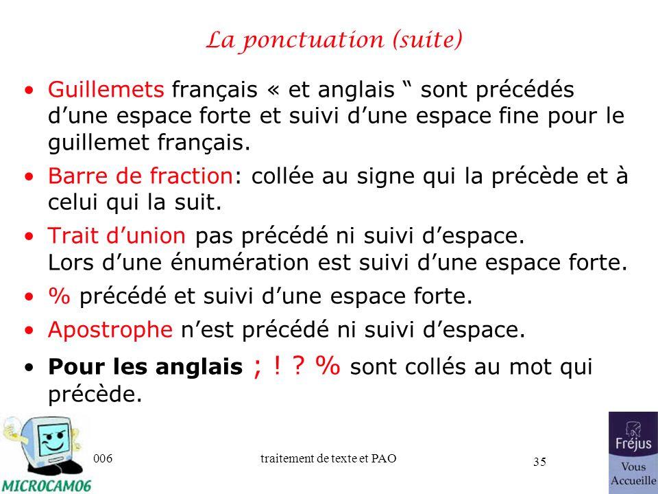 06/30/2006traitement de texte et PAO 35 La ponctuation (suite) Guillemets français « et anglais sont précédés dune espace forte et suivi dune espace f