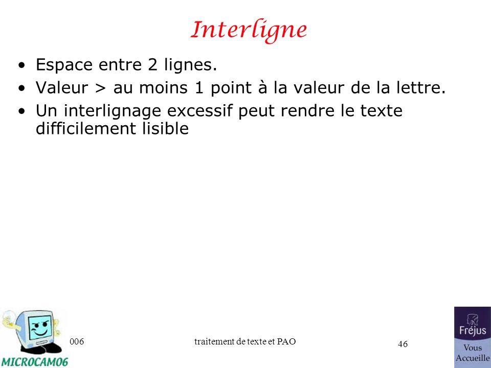 06/30/2006traitement de texte et PAO 46 Interligne Espace entre 2 lignes. Valeur > au moins 1 point à la valeur de la lettre. Un interlignage excessif