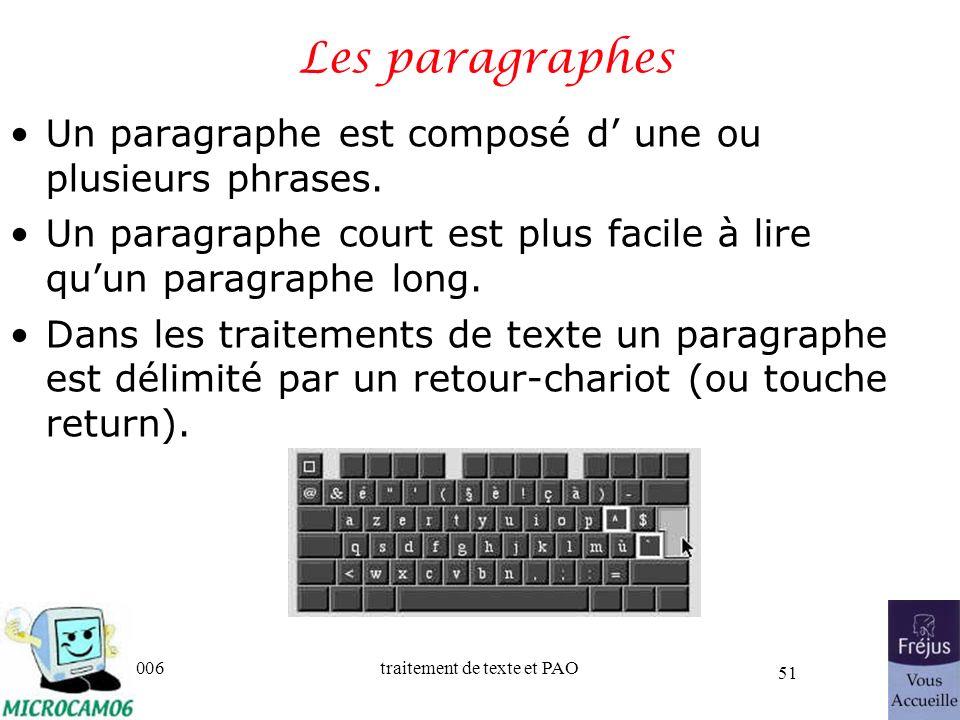 06/30/2006traitement de texte et PAO 51 Les paragraphes Un paragraphe est composé d une ou plusieurs phrases. Un paragraphe court est plus facile à li