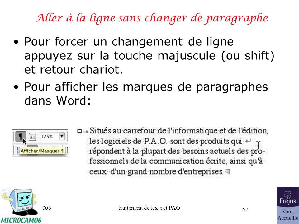 06/30/2006traitement de texte et PAO 52 Aller à la ligne sans changer de paragraphe Pour forcer un changement de ligne appuyez sur la touche majuscule