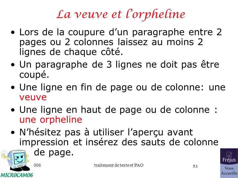 06/30/2006traitement de texte et PAO 53 La veuve et lorpheline Lors de la coupure dun paragraphe entre 2 pages ou 2 colonnes laissez au moins 2 lignes
