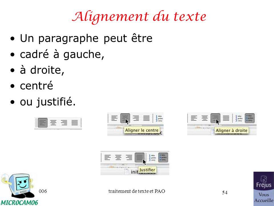 06/30/2006traitement de texte et PAO 54 Alignement du texte Un paragraphe peut être cadré à gauche, à droite, centré ou justifié.