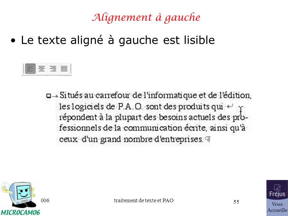 06/30/2006traitement de texte et PAO 55 Alignement à gauche Le texte aligné à gauche est lisible