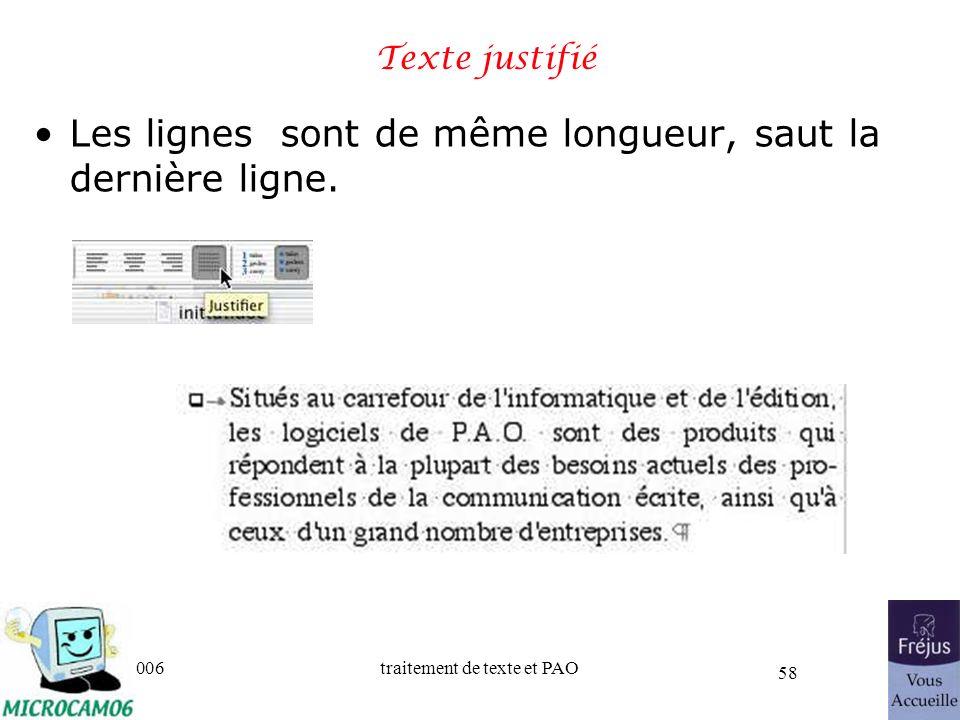 06/30/2006traitement de texte et PAO 58 Texte justifié Les lignes sont de même longueur, saut la dernière ligne.
