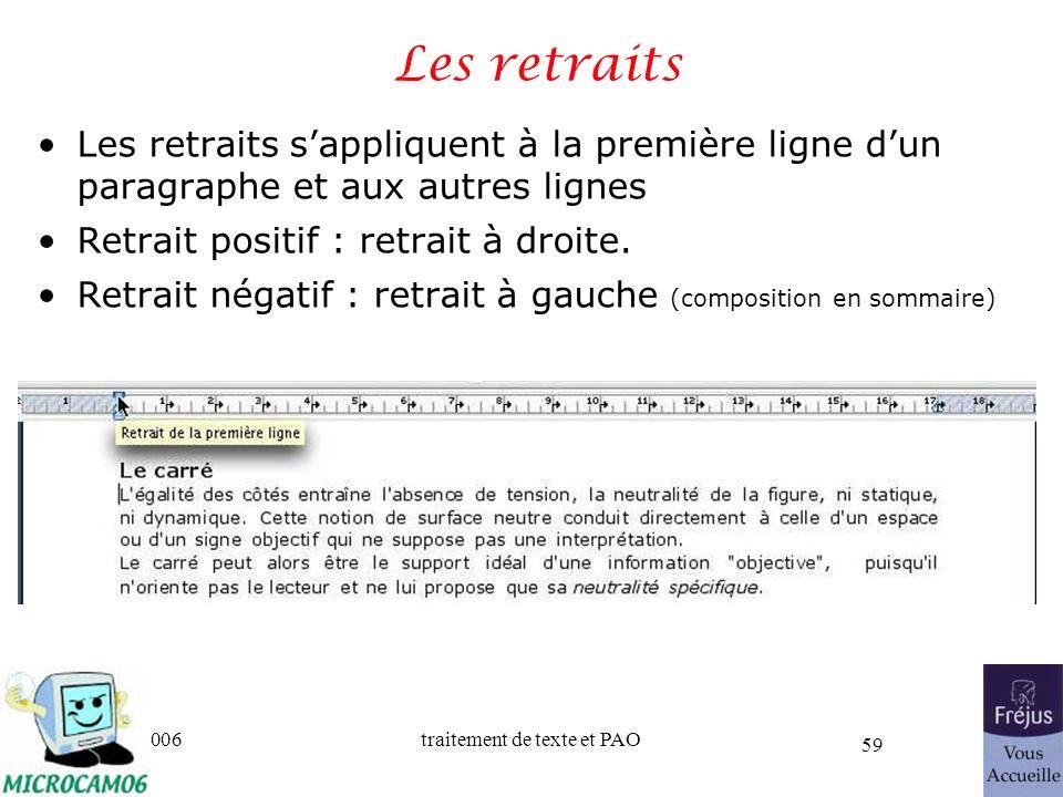 06/30/2006traitement de texte et PAO 59 Les retraits Les retraits sappliquent à la première ligne dun paragraphe et aux autres lignes Retrait positif