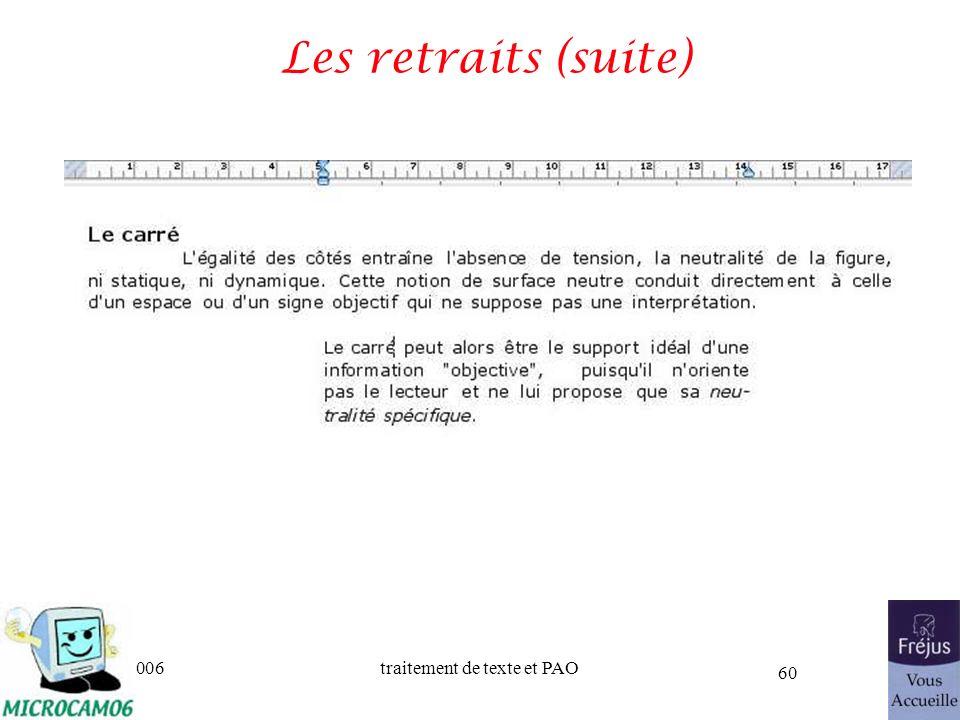 06/30/2006traitement de texte et PAO 60 Les retraits (suite)