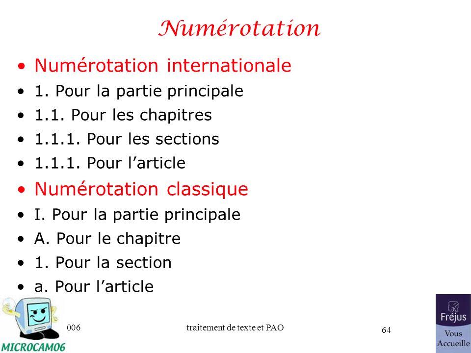 06/30/2006traitement de texte et PAO 64 Numérotation Numérotation internationale 1. Pour la partie principale 1.1. Pour les chapitres 1.1.1. Pour les