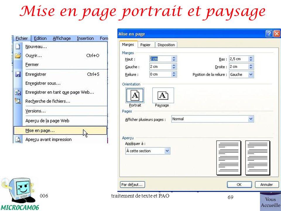 06/30/2006traitement de texte et PAO 69 Mise en page portrait et paysage