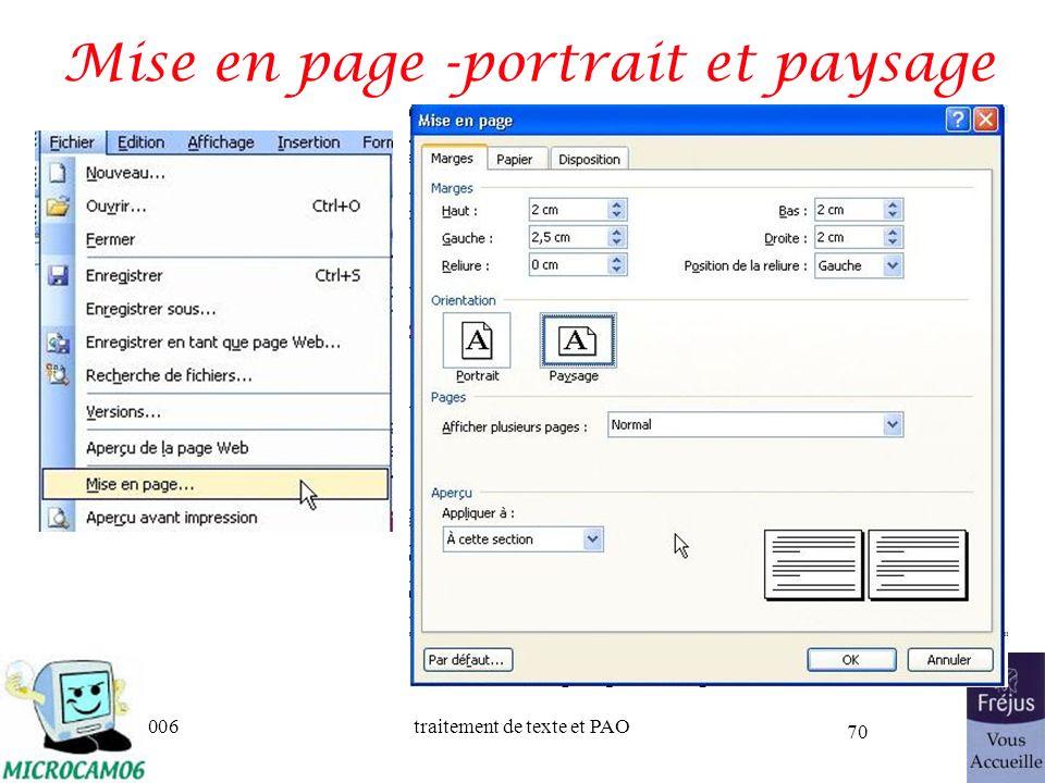 06/30/2006traitement de texte et PAO 70 Mise en page -portrait et paysage