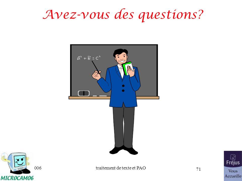 06/30/2006traitement de texte et PAO 71 Avez-vous des questions?