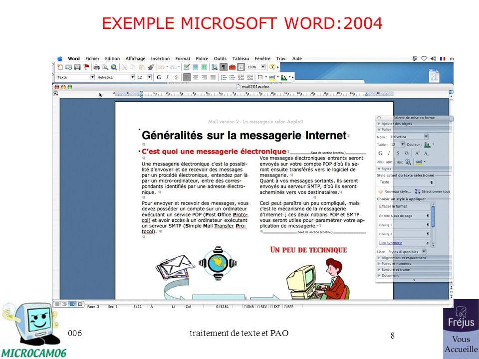 06/30/2006traitement de texte et PAO 8 EXEMPLE MICROSOFT WORD:2004