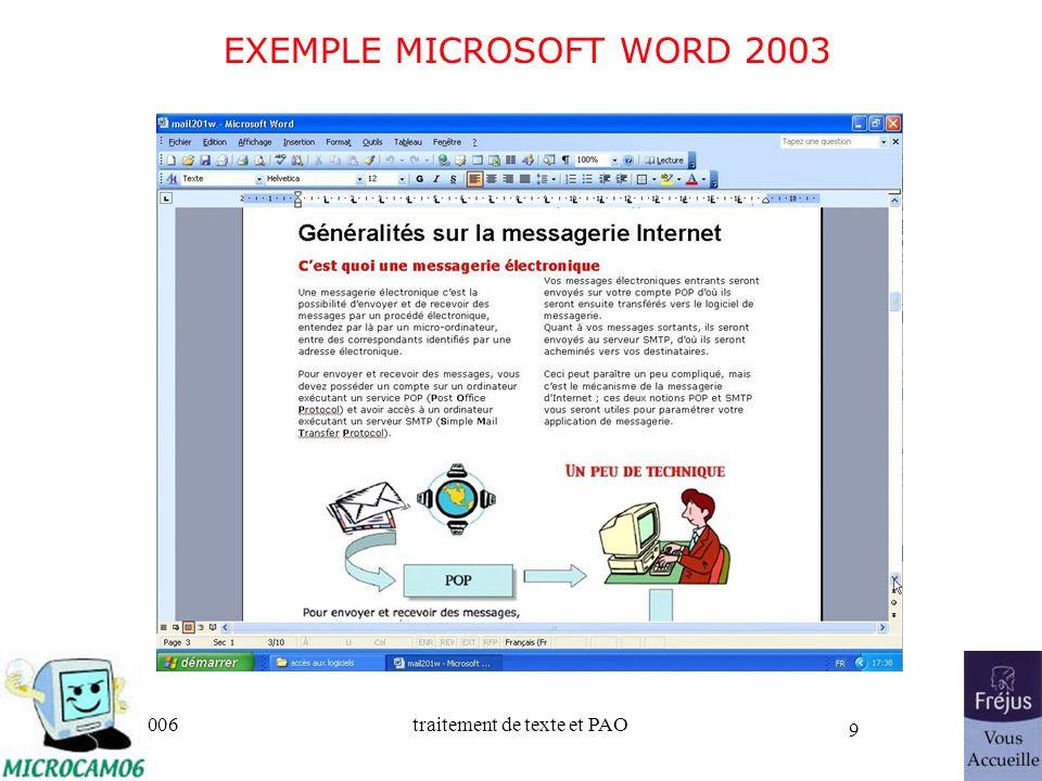 06/30/2006traitement de texte et PAO 9 EXEMPLE MICROSOFT WORD 2003