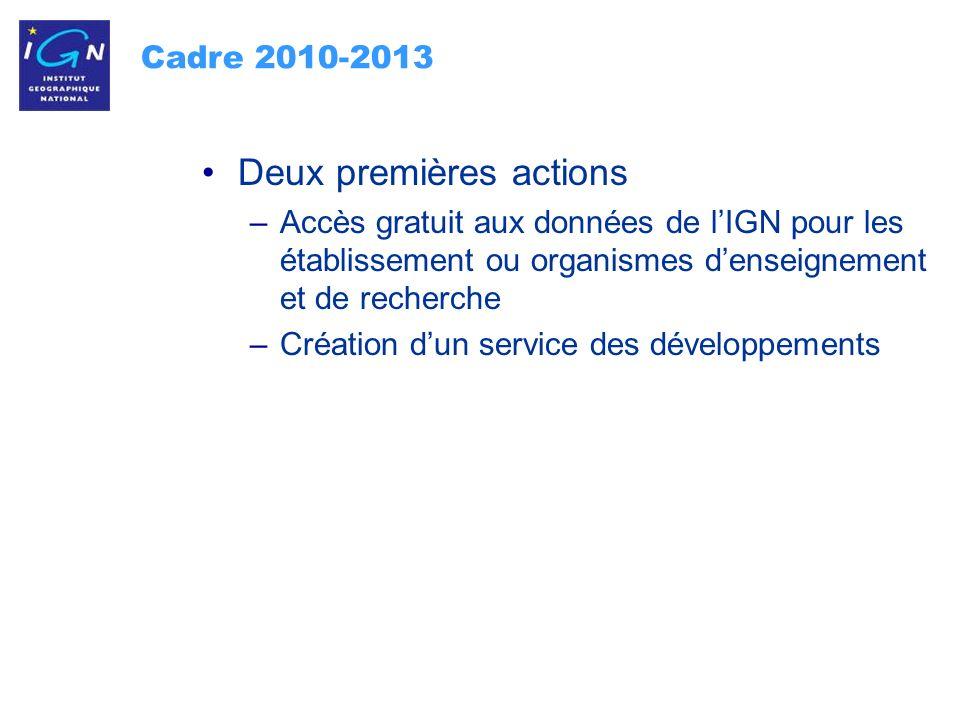 16 Cadre 2010-2013 Deux premières actions –Accès gratuit aux données de lIGN pour les établissement ou organismes denseignement et de recherche –Création dun service des développements