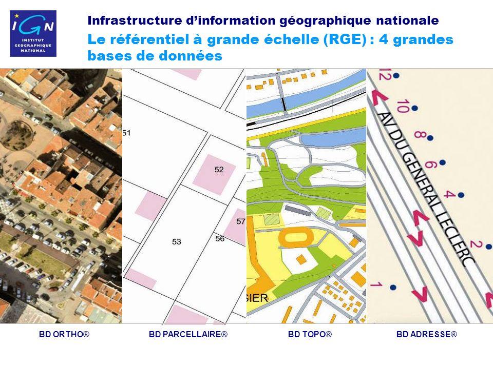 8 BD ORTHO®BD PARCELLAIRE®BD TOPO®BD ADRESSE® Infrastructure dinformation géographique nationale Le référentiel à grande échelle (RGE) : 4 grandes bases de données