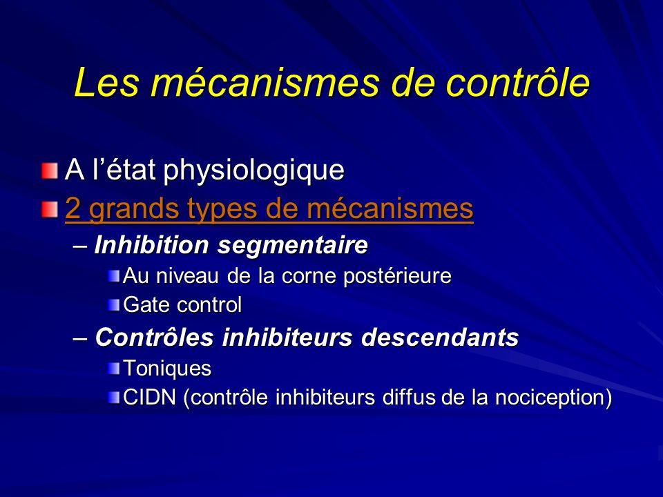 Les mécanismes de contrôle A létat physiologique 2 grands types de mécanismes –Inhibition segmentaire Au niveau de la corne postérieure Gate control –