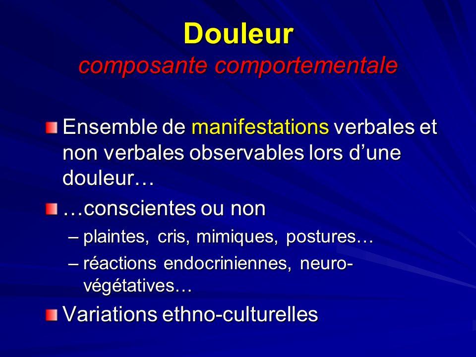 Douleur composante comportementale Ensemble de manifestations verbales et non verbales observables lors dune douleur… …conscientes ou non –plaintes, c