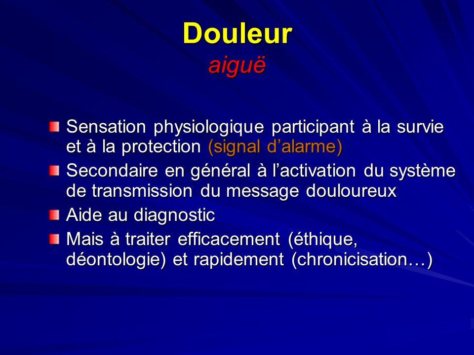 Douleur aiguë Sensation physiologique participant à la survie et à la protection (signal dalarme) Secondaire en général à lactivation du système de tr