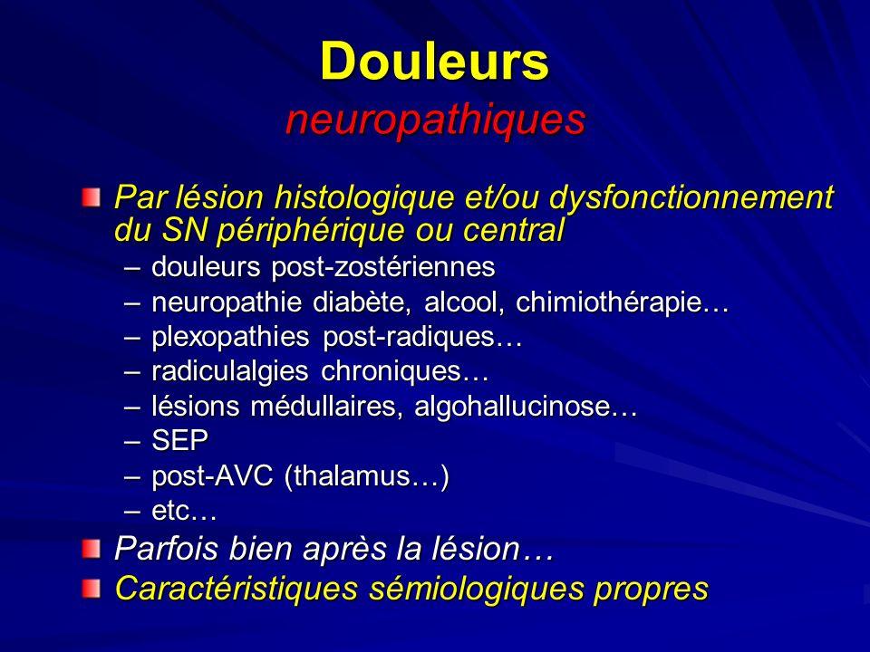 Douleurs neuropathiques Par lésion histologique et/ou dysfonctionnement du SN périphérique ou central –douleurs post-zostériennes –neuropathie diabète