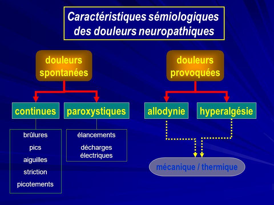 douleurs spontanées douleurs provoquées continuesparoxystiquesallodyniehyperalgésie mécanique / thermique Caractéristiques sémiologiques des douleurs