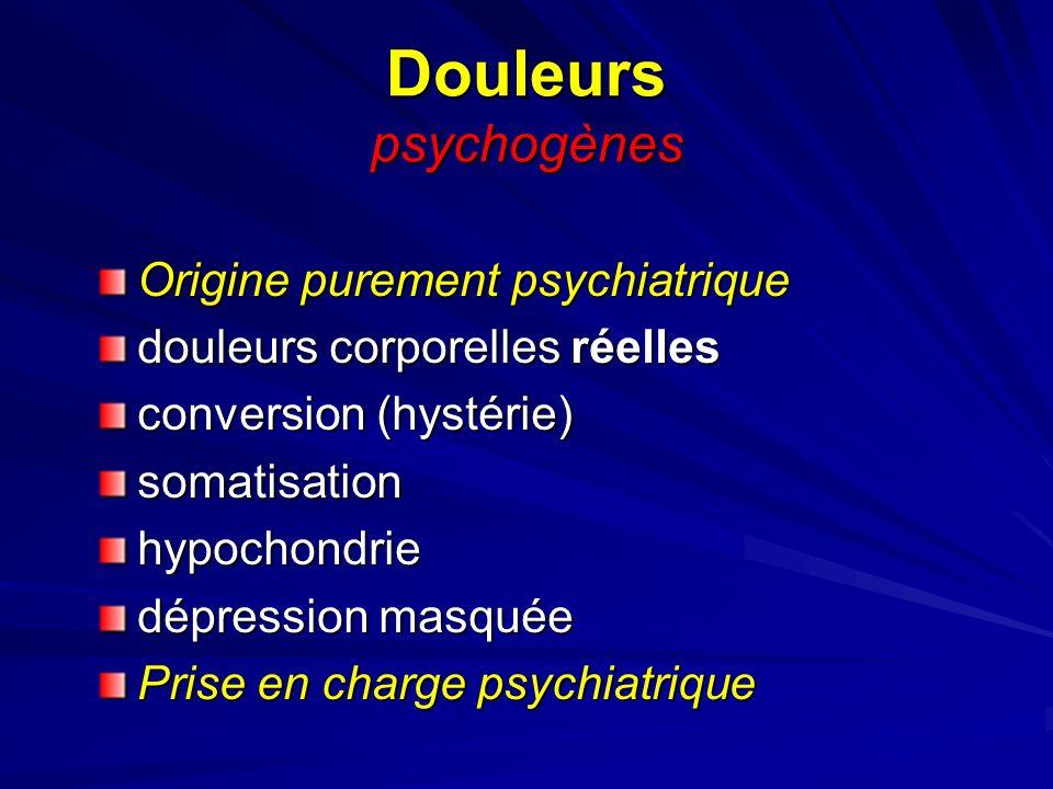 Douleurs psychogènes Origine purement psychiatrique douleurs corporelles réelles conversion (hystérie) somatisationhypochondrie dépression masquée Pri