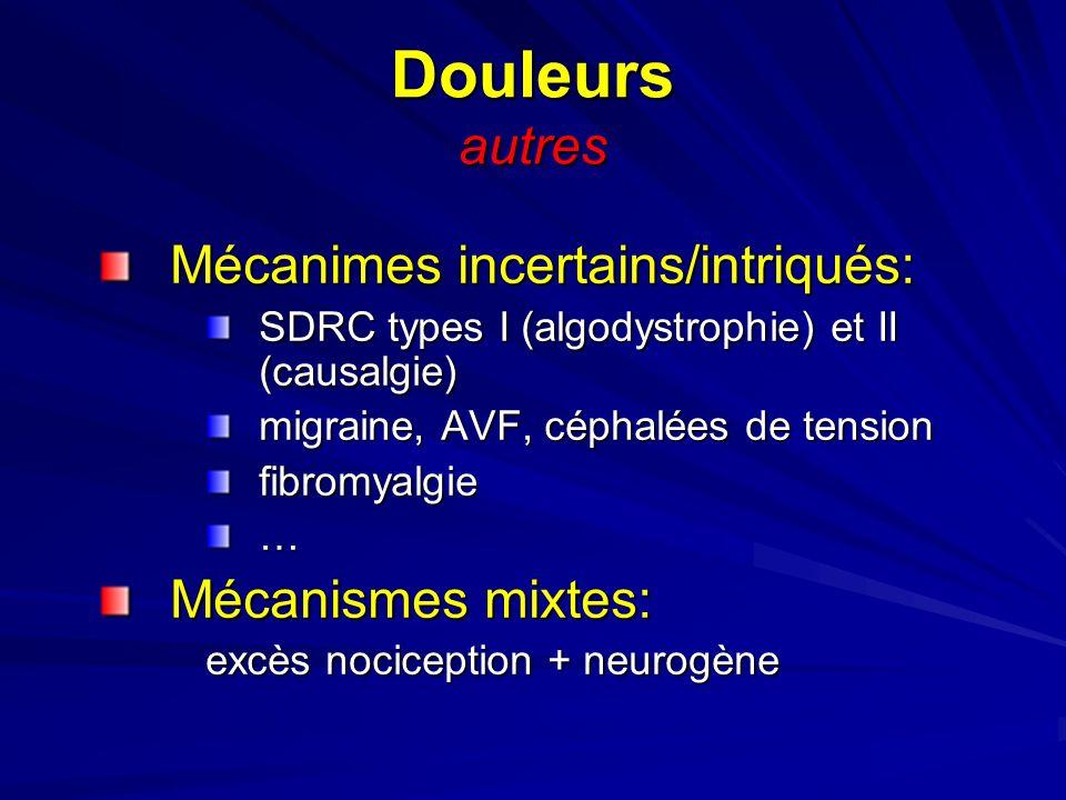 Douleurs autres Mécanimes incertains/intriqués: SDRC types I (algodystrophie) et II (causalgie) migraine, AVF, céphalées de tension fibromyalgie… Méca
