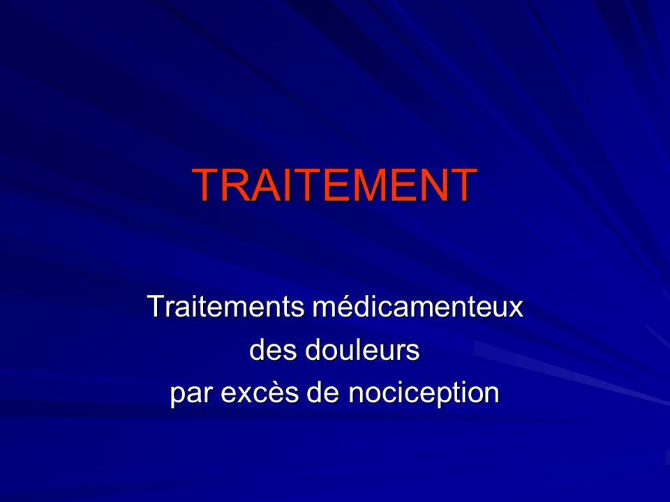 TRAITEMENT Traitements médicamenteux des douleurs par excès de nociception