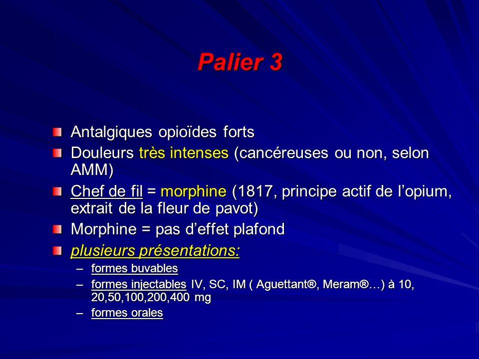 Palier 3 Antalgiques opioïdes forts Douleurs très intenses (cancéreuses ou non, selon AMM) Chef de fil = morphine (1817, principe actif de lopium, ext