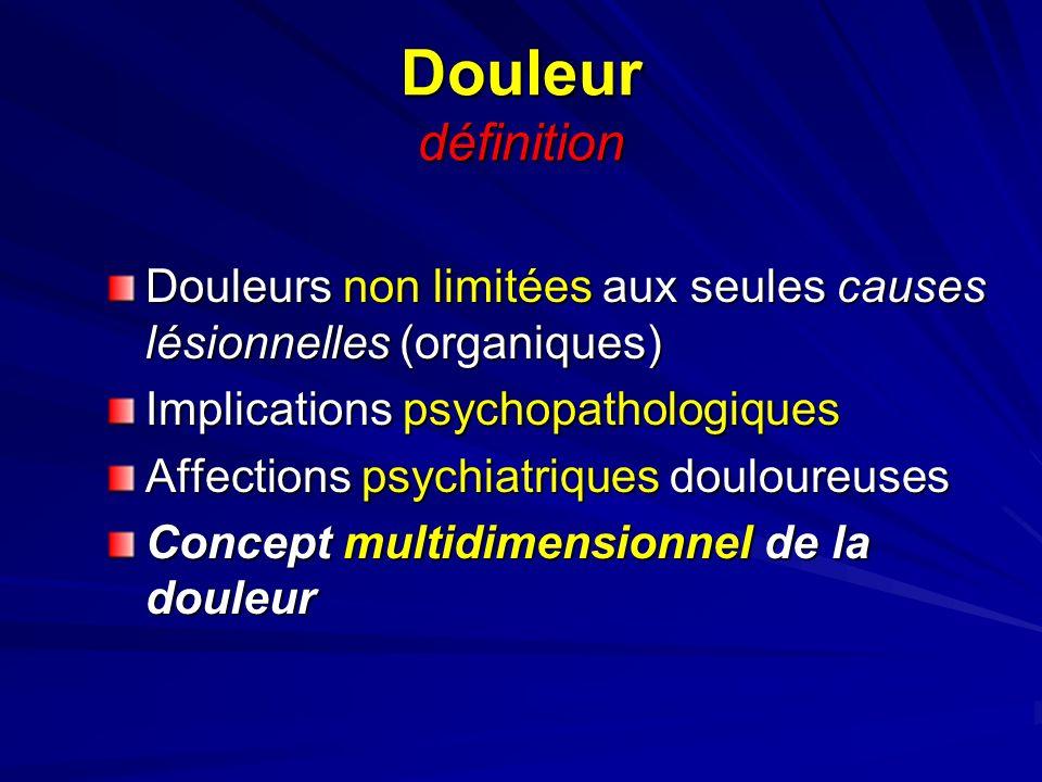 Douleur définition Douleurs non limitées aux seules causes lésionnelles (organiques) Implications psychopathologiques Affections psychiatriques doulou