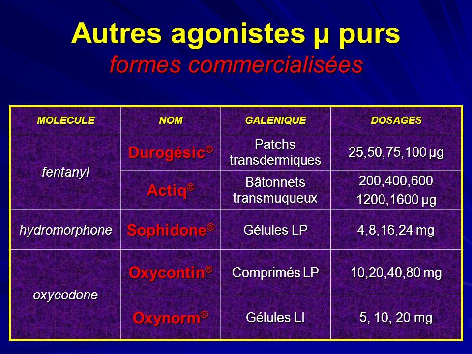 Autres agonistes µ purs formes commercialisées MOLECULENOMGALENIQUEDOSAGES fentanyl Durogésic ® Patchs transdermiques 25,50,75,100 µg Actiq ® Bâtonnet