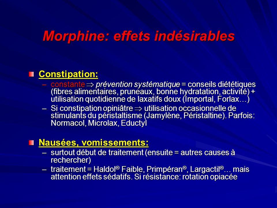 Morphine: effets indésirables Constipation: –constante prévention systématique = conseils diététiques (fibres alimentaires, pruneaux, bonne hydratatio