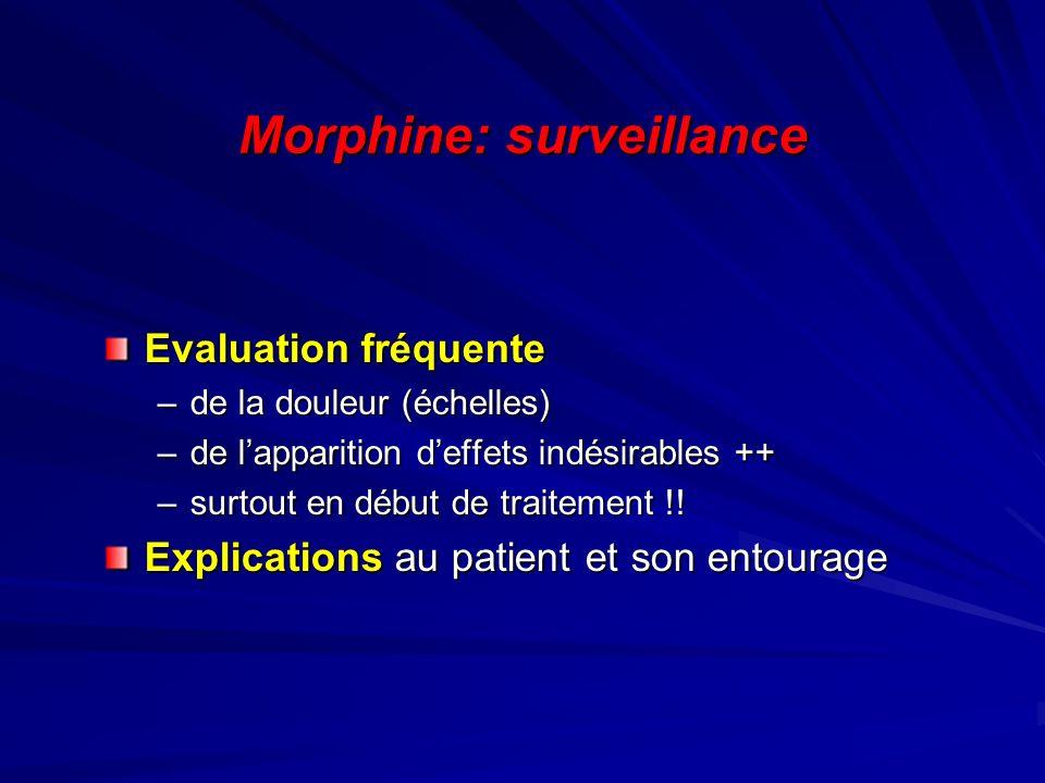 Morphine: surveillance Evaluation fréquente –de la douleur (échelles) –de lapparition deffets indésirables ++ –surtout en début de traitement !! Expli