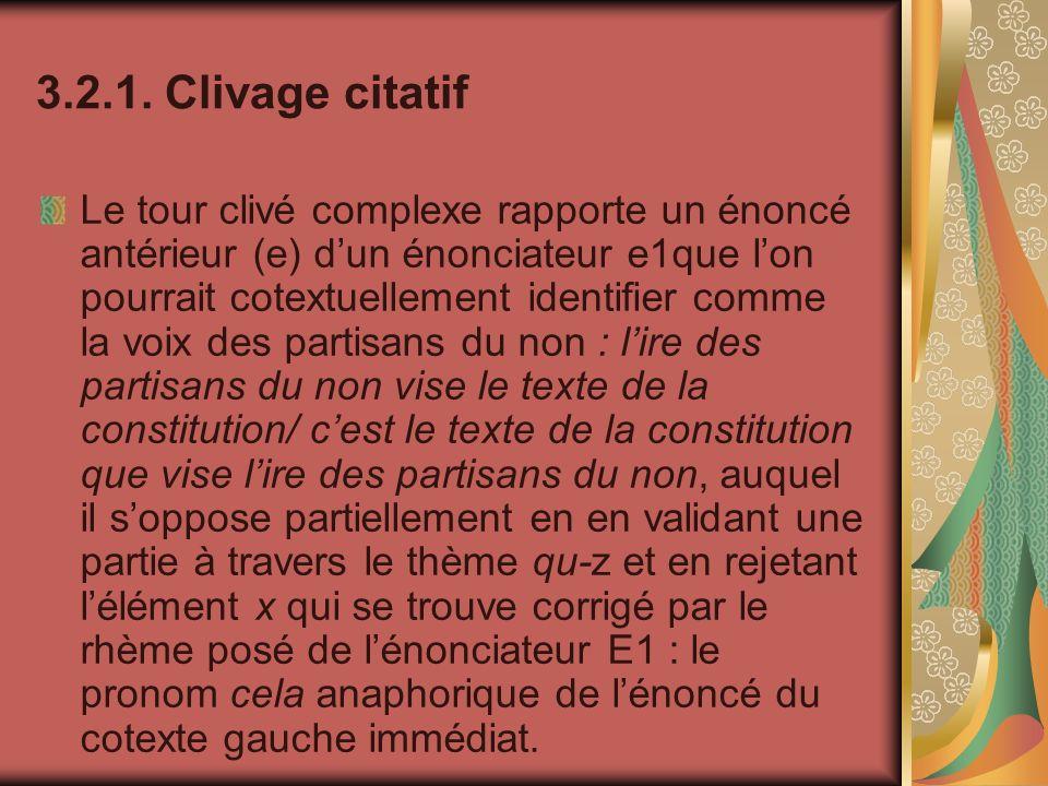 3.2.1. Clivage citatif Le tour clivé complexe rapporte un énoncé antérieur (e) dun énonciateur e1que lon pourrait cotextuellement identifier comme la