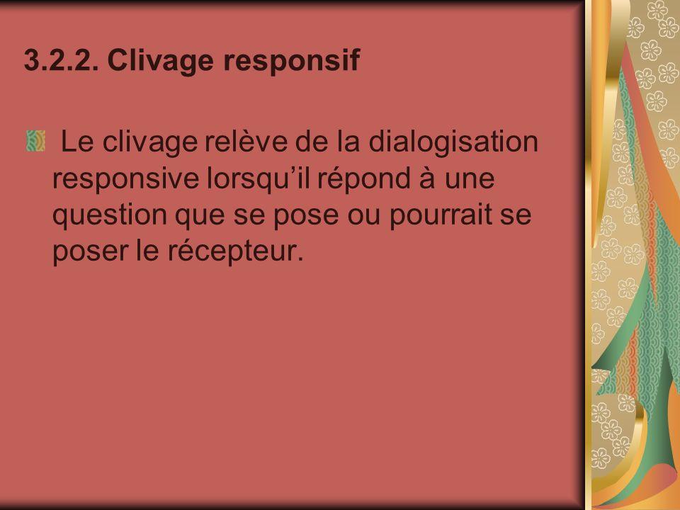 3.2.2. Clivage responsif Le clivage relève de la dialogisation responsive lorsquil répond à une question que se pose ou pourrait se poser le récepteur
