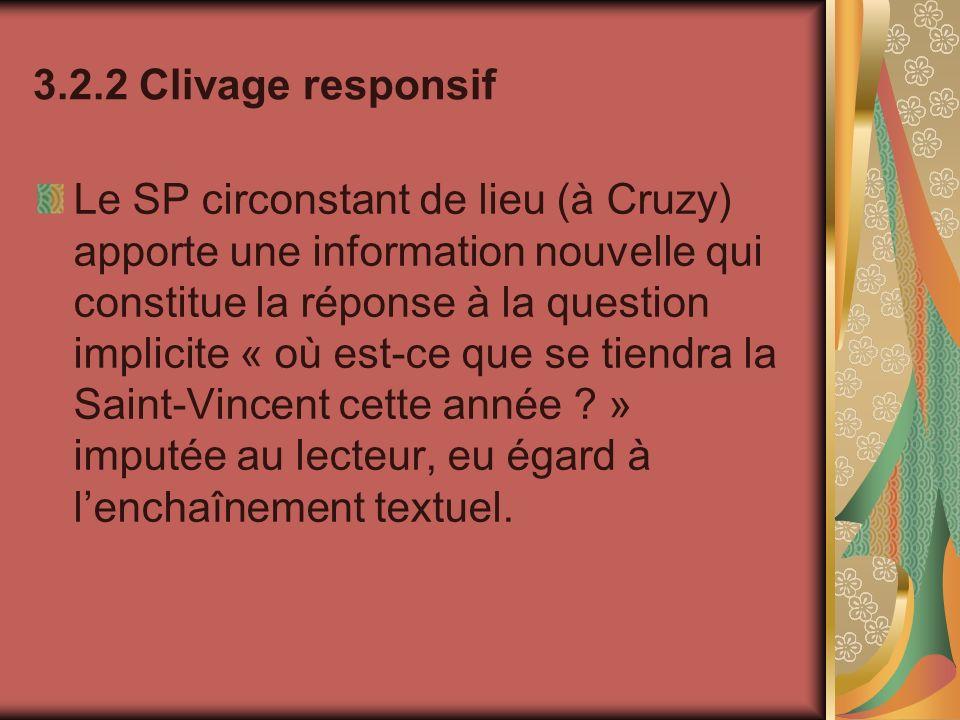 3.2.2 Clivage responsif Le SP circonstant de lieu (à Cruzy) apporte une information nouvelle qui constitue la réponse à la question implicite « où est