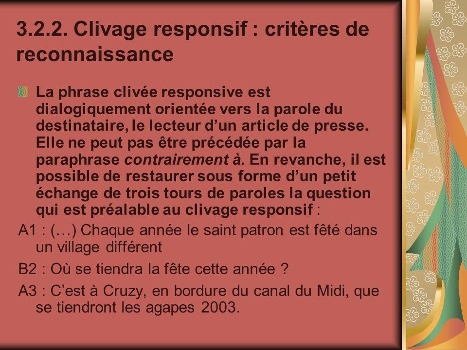 3.2.2. Clivage responsif : critères de reconnaissance La phrase clivée responsive est dialogiquement orientée vers la parole du destinataire, le lecte