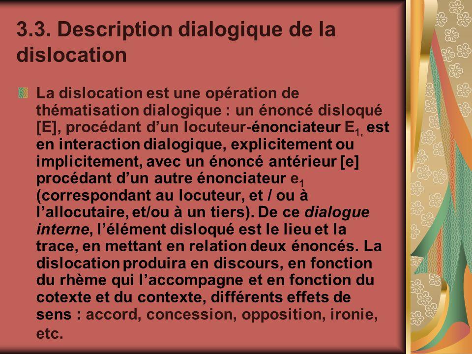 3.3. Description dialogique de la dislocation La dislocation est une opération de thématisation dialogique : un énoncé disloqué [E], procédant dun loc