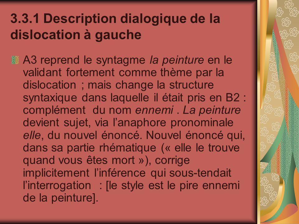 3.3.1 Description dialogique de la dislocation à gauche A3 reprend le syntagme la peinture en le validant fortement comme thème par la dislocation ; m