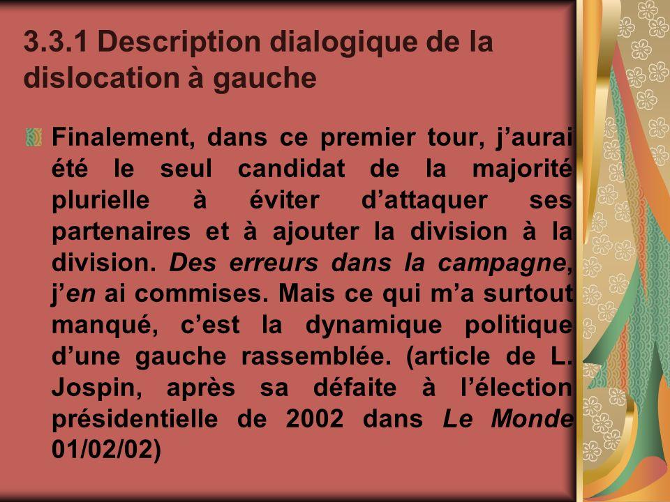 3.3.1 Description dialogique de la dislocation à gauche Finalement, dans ce premier tour, jaurai été le seul candidat de la majorité plurielle à évite